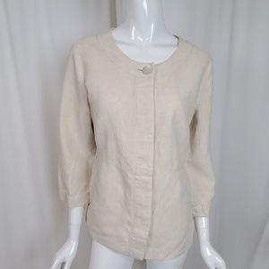 Orvis Ecru Linen 3/4 Sleeve Collarless Jacket